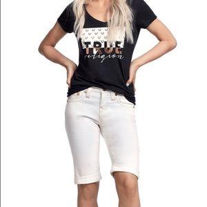 True Religion Riley White Bermuda Jean Shorts NWT